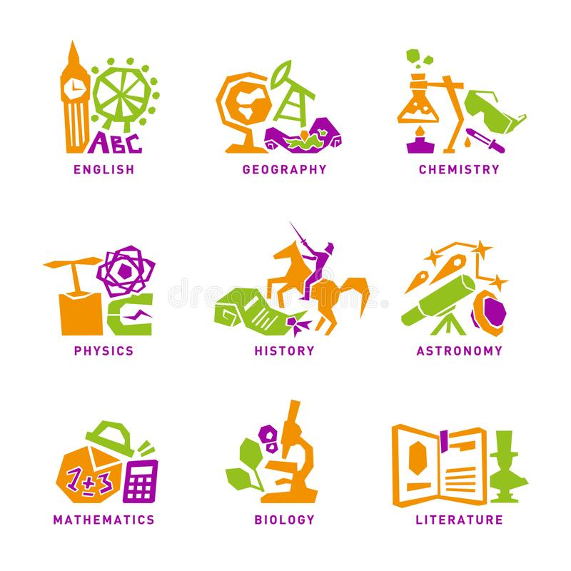 Set with school subjects icons for design. Vector stock photo