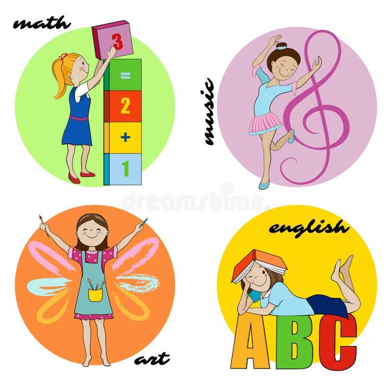 Flat Set Of Book Logos:  Set Of School Subjects Vector Round Design Stock Vector