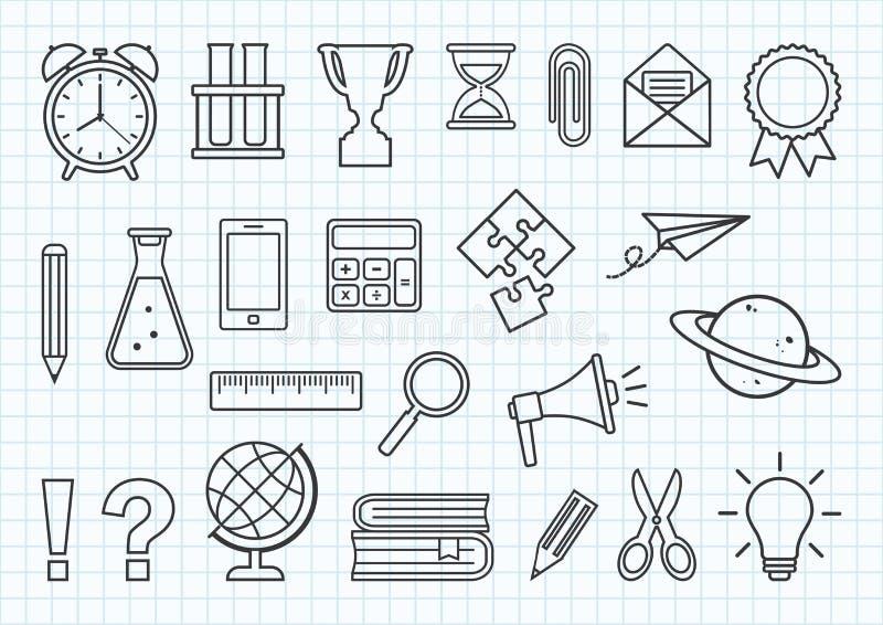 Set of school supplies on checkered notebook background. Black line art. Vector. Illustration vector illustration