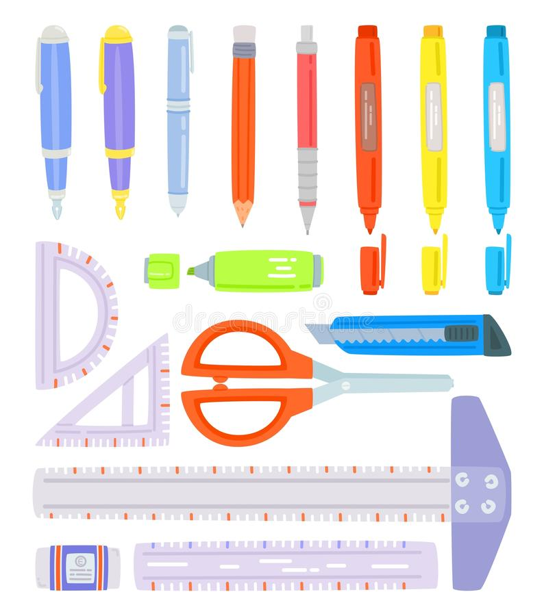 Set of school supplies. Stationery accessories, On white background, Pen, Pencil, Color pen, Cutter, Highlight pen, Eraser, Scissors, Ruler, cute vector vector illustration