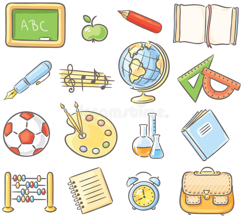 Set of 16 school thing representing different subjects. Set of 16 school thing representing different school subjects, no gradients stock illustration