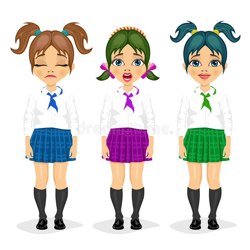 Set of schoolgirl expressions with different hairstyles. Over white background vector illustration