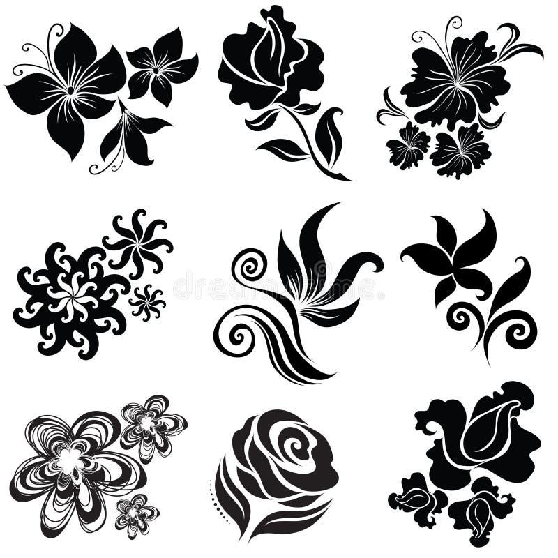 Set schwarze Blumenauslegungelemente stock abbildung