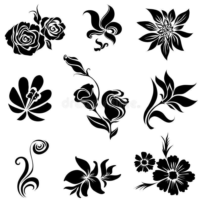 Set schwarze Blumenauslegungelemente lizenzfreie abbildung
