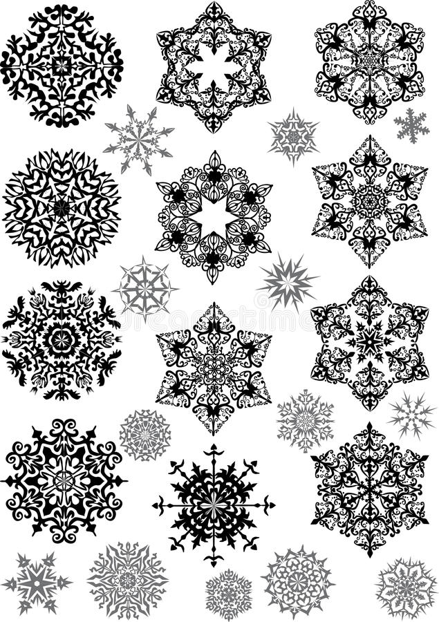 Set schwarze und graue Schneeflocken lizenzfreie abbildung
