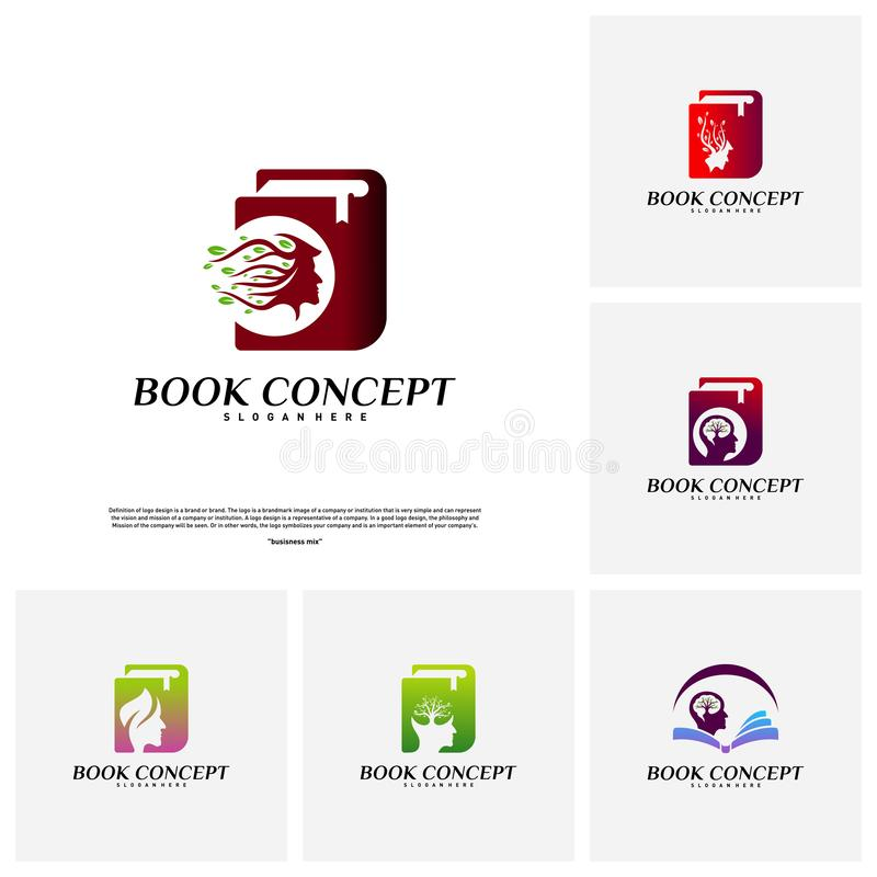 Set of Science Book Logo concept. People Learning Education Logo Design Template Vector. Icon Symbol vector illustration