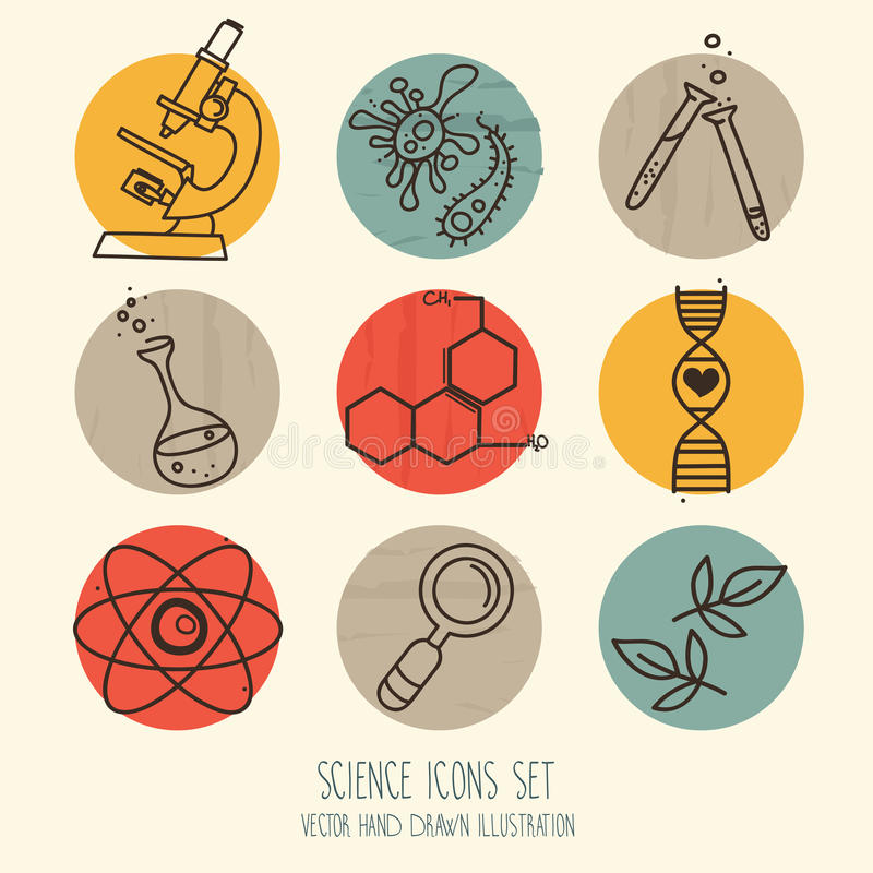 Set of science icons in hand drawn cartoon style vector illustration
