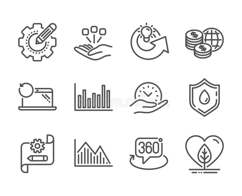 Set of Science icons, such as Blood donation, Cogwheel blueprint, Share idea. Vector. Set of Science icons, such as Blood donation, Cogwheel blueprint, Share royalty free illustration