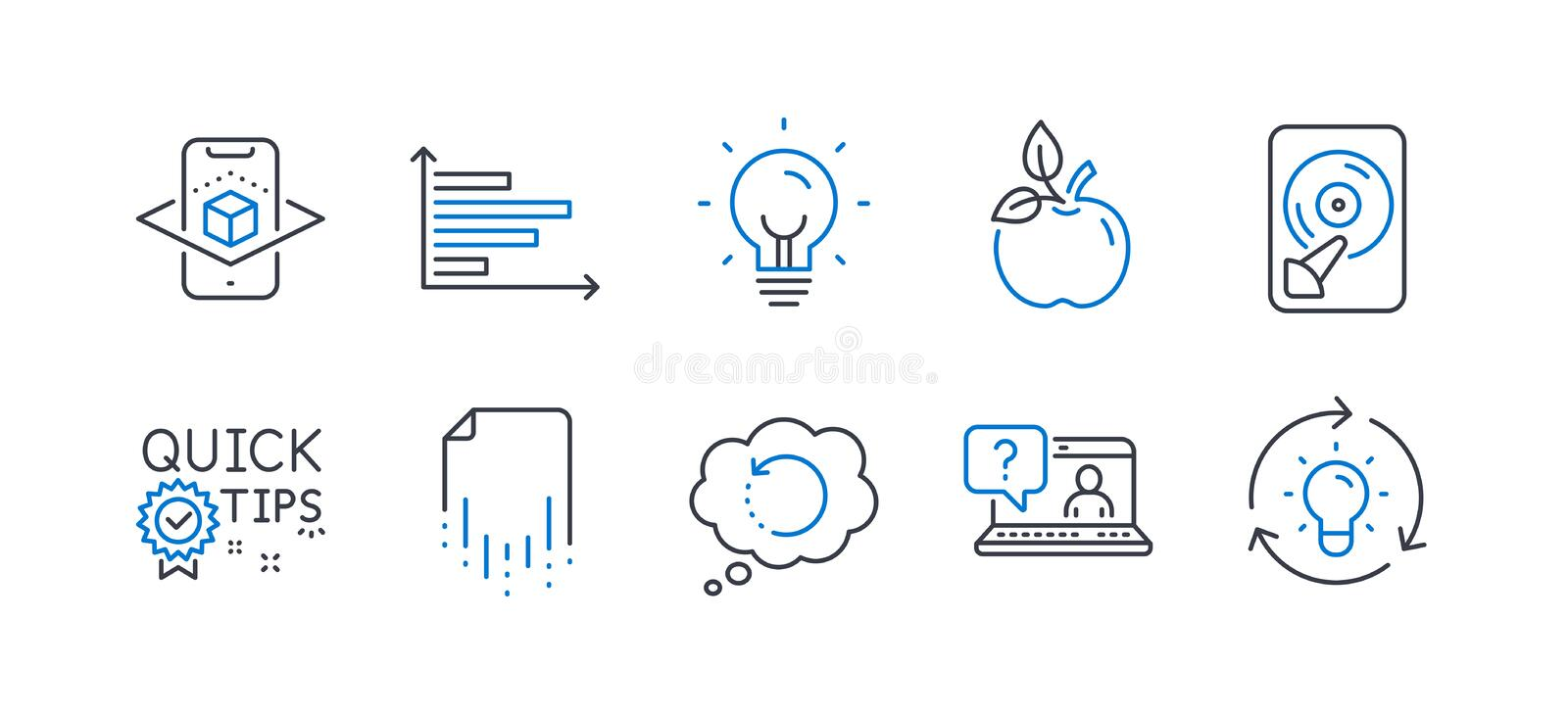 Set of Science icons, such as Hdd, Augmented reality, Energy. Vector. Set of Science icons, such as Hdd, Augmented reality, Energy, Recovery data, Faq, Eco food stock illustration