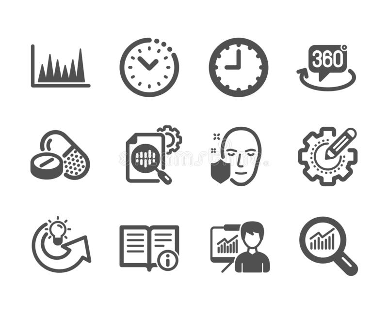 Set of Science icons, such as Technical info, Line graph, Time management. Vector. Set of Science icons, such as Technical info, Line graph, Time management, Seo royalty free illustration