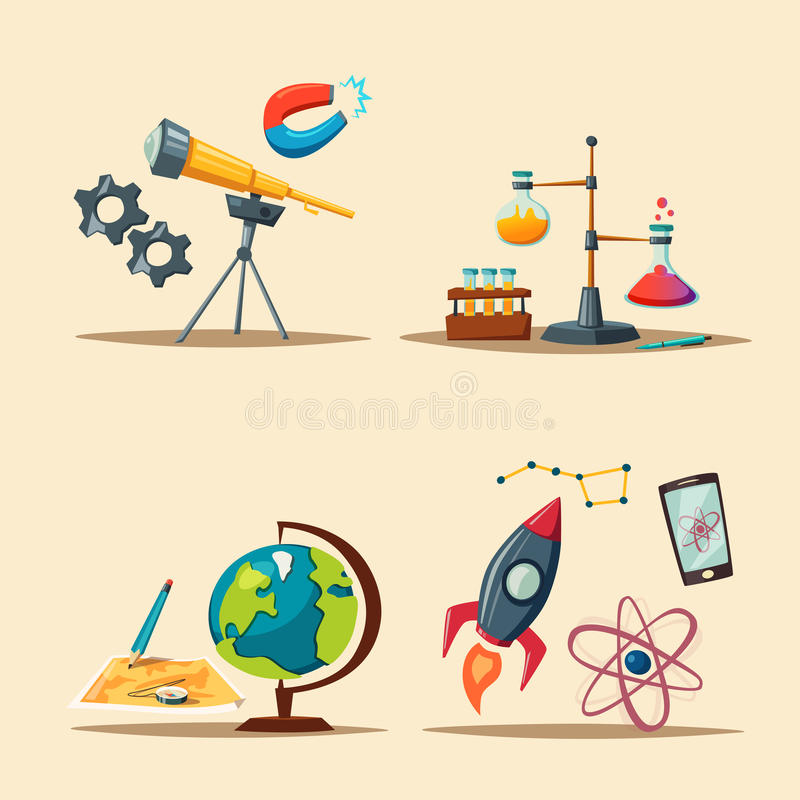 Set of science logo. Cartoon vector illustration. Education theme vector illustration