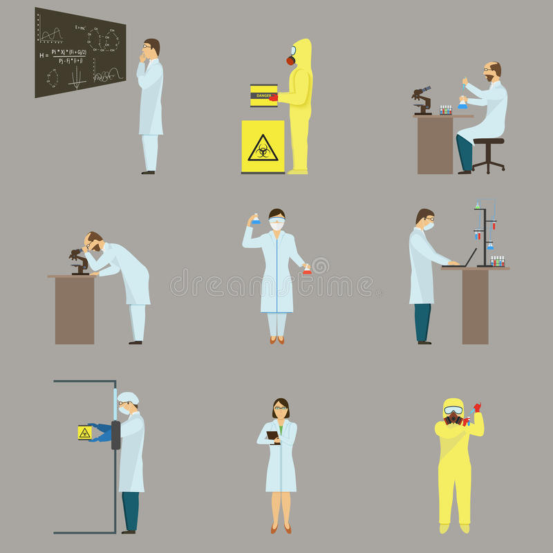 Set of Scientific Characters. royalty free illustration
