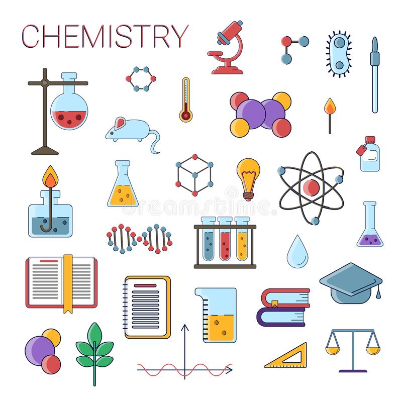 Set of scientific chemistry vector flat icons, Chemistry education symbols in colored cute design with chemistry royalty free illustration