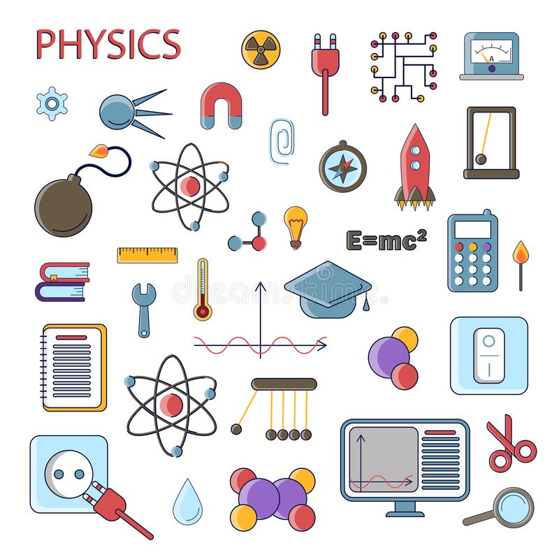 Set of scientific physics vector flat icons, Physics education symbols in colored cute design with physical elements for vector illustration
