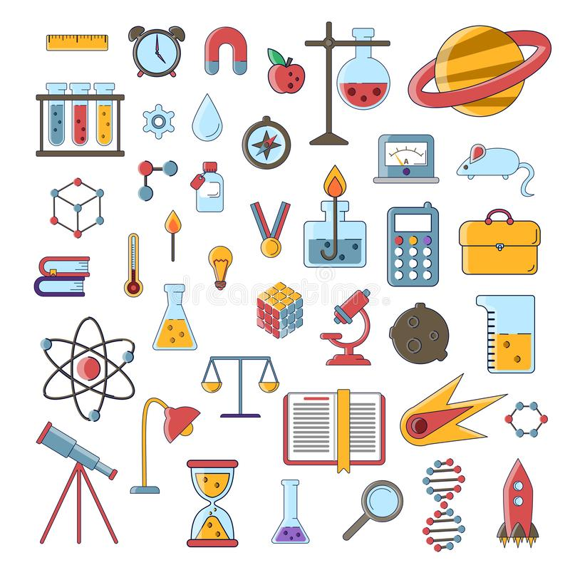 Set of scientific vector flat icons, education signs and symbols in colored modern science design with elements for royalty free illustration