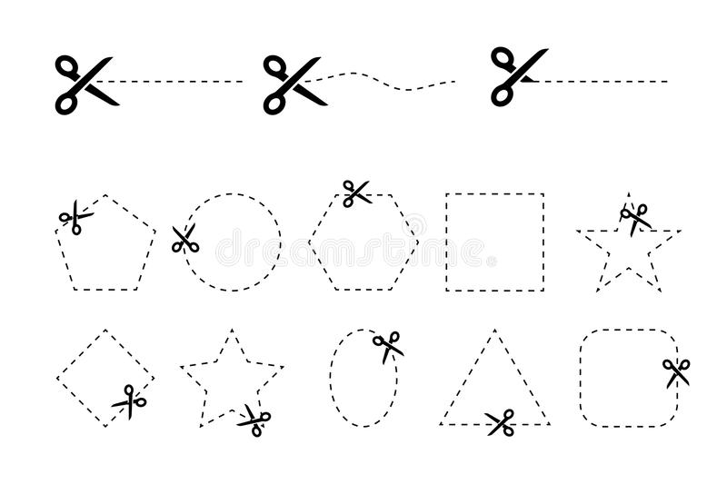 Set of scissors vectors with cut out coupons of different geometric shapes royalty free illustration
