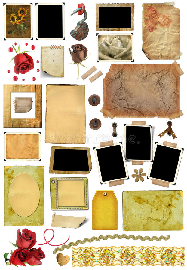 A set of scrap elements, photo edges. A set of scrap elements, picture frames, photo edges and texture of the paper. Template for the album design in vintage stock illustration