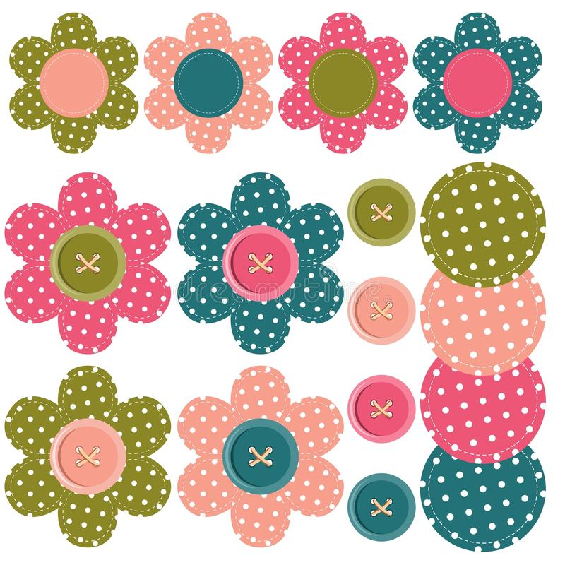 Set with scrapbook flowers and buttons royalty free illustration
