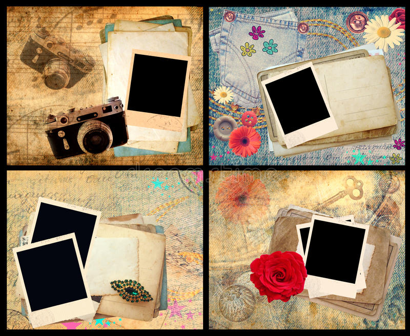Set of scrapbook frames stock illustration