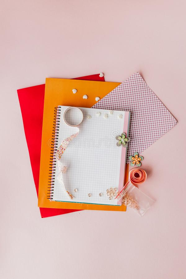 Set for Scrapbooking, creative mess. Scotch for Scrapbooking.Pink background stock image