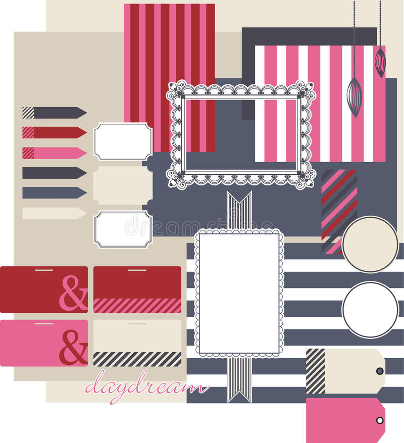 Set for scrapbooking with frames