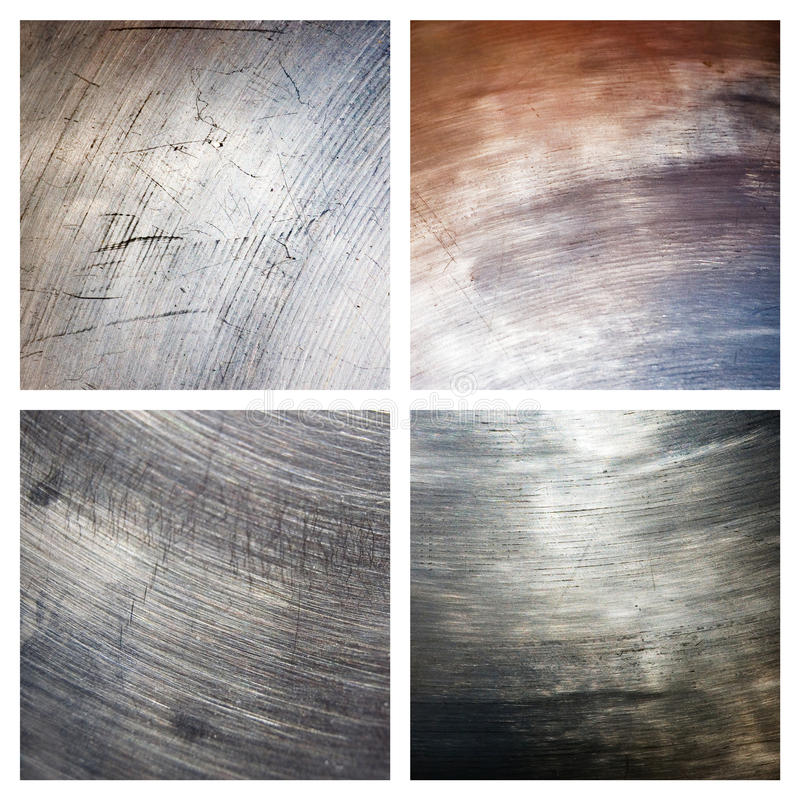 Set of scratched grunge metal textures. Abstract background stock photo