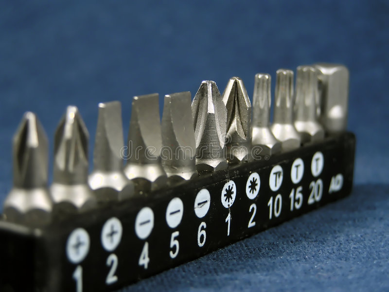 Set of screw-drivers. For an electrodrill royalty free stock images