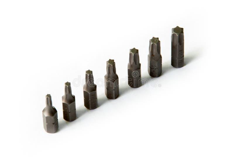 Set of screwdriver bits torx heads stock image