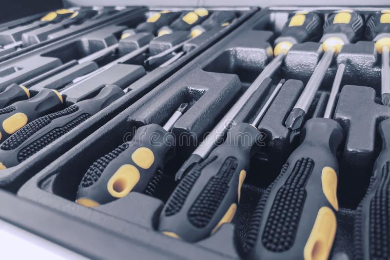Set of Screwdrivers inside Toolbox, Screwdrivers Set, Box with Set of Tools, Set Mechanical Tools stock images