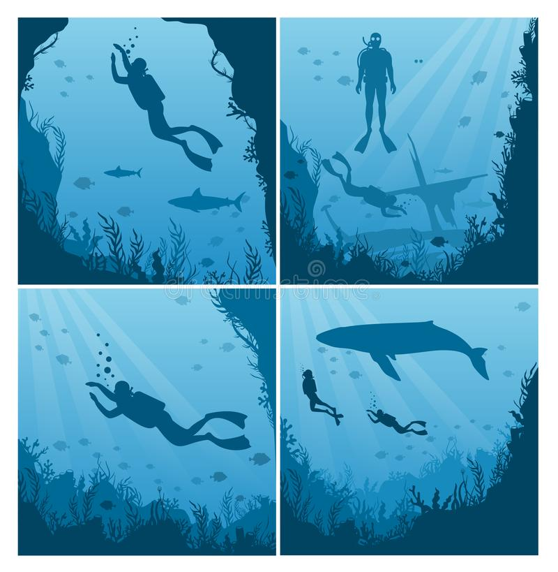 Set of scuba divers, snorkeling flat vector illustration. Collection of underwater landscapes, Diver in swimsuit with. Flippers silhouette. Active summer royalty free illustration