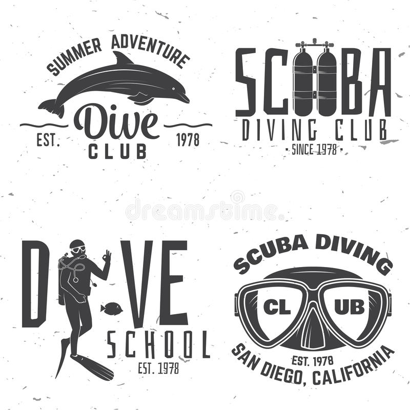 Download Set Of Scuba Diving Club And Diving School Design. Stock Vector - Illustration of illustration, logo: 90715779