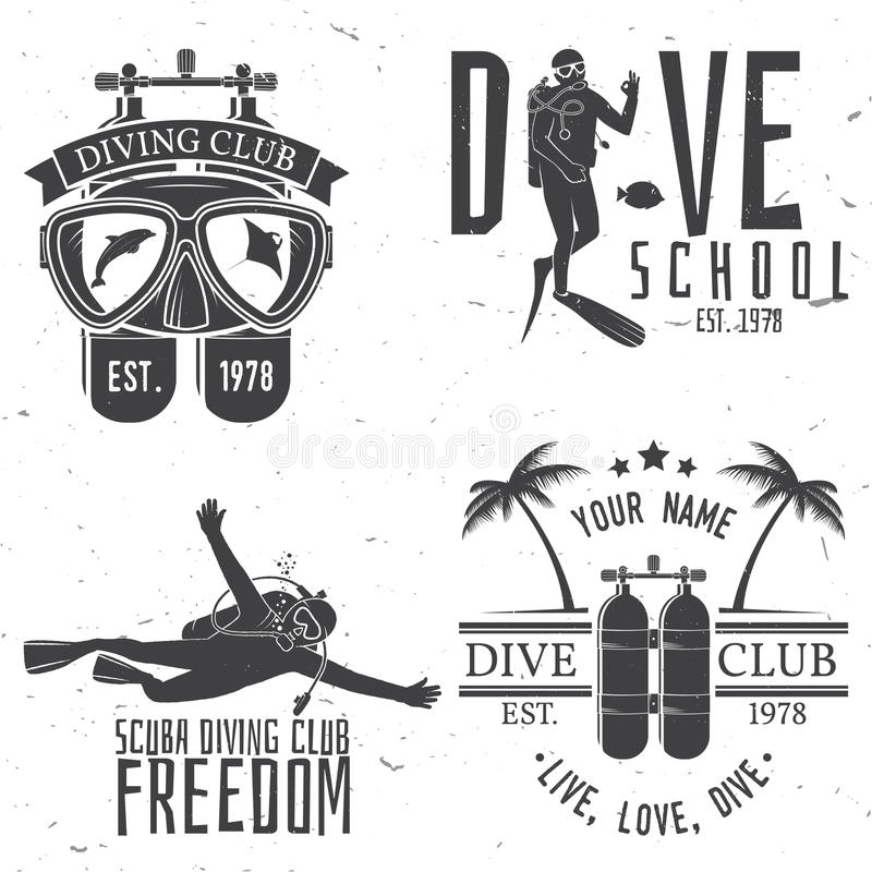 Set of Scuba diving club and diving school design. Vector illustration. Concept for shirt or logo, print, stamp or tee. Vintage typography design with diving vector illustration