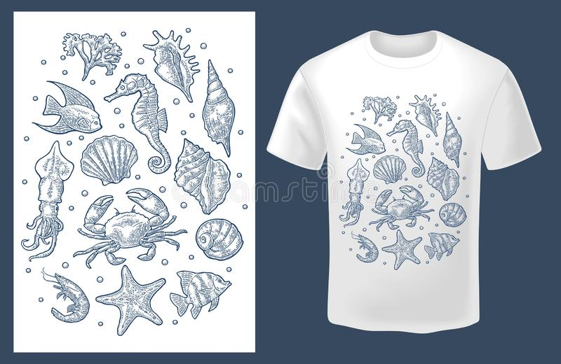 Set sea animal. Vector monochrome vintage engraving isolated on white royalty free illustration