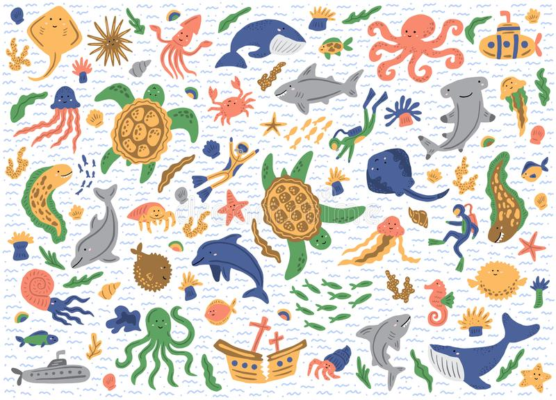 Set of sea animals. Isolated on white background. Cute childish illustrations. Vector stickers royalty free stock photography
