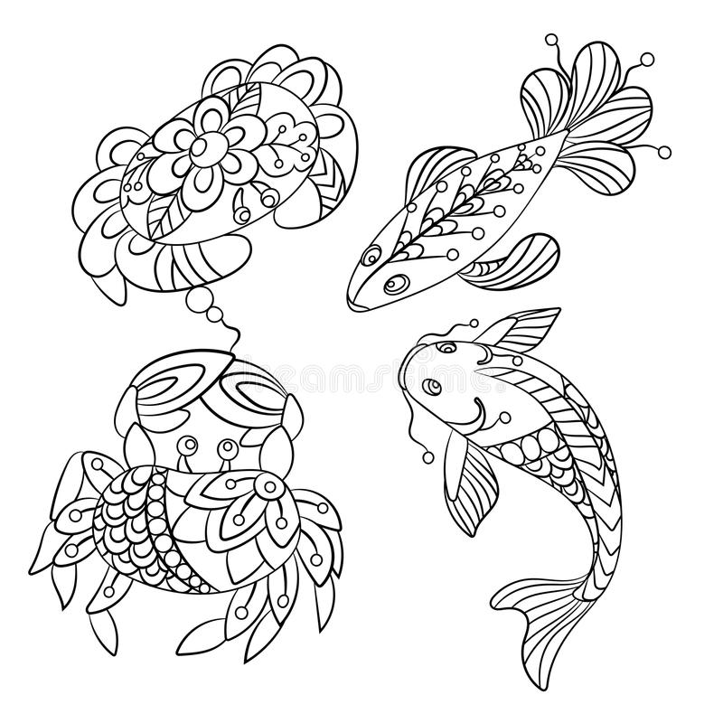 Set of sea animals in vector graphic illustration in coloring p. Ages for children and adults with fish and crab stock illustration