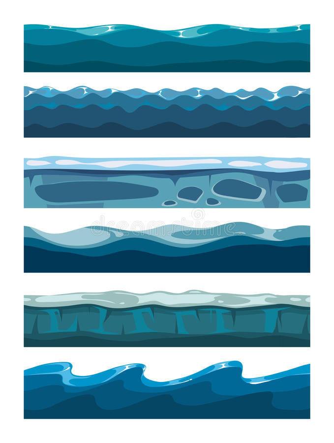 Set of sea backgrounds for mobile games apps stock illustration