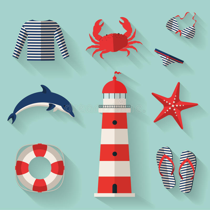 Set of sea and beach flat icons. Vector illustrati royalty free illustration
