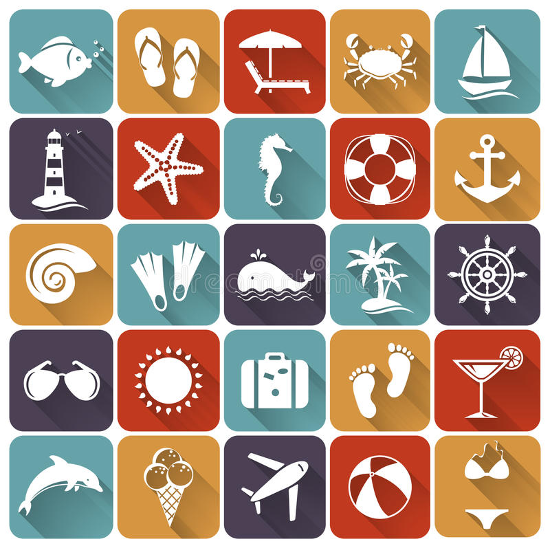 Set of sea and beach flat icons. Vector illustration. stock illustration