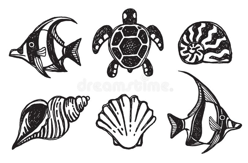A set of icons of sea creatures royalty free illustration