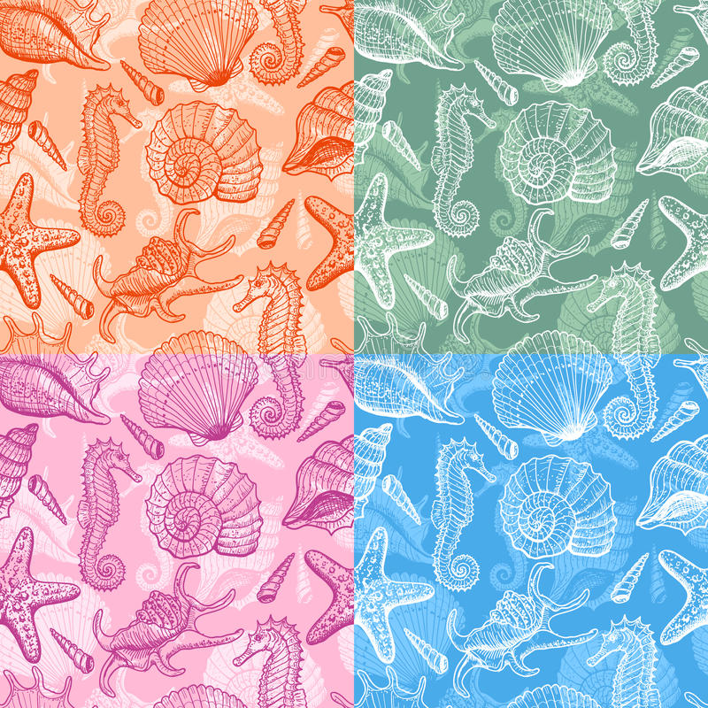 Set of sea hand drawn seamless pattern. Set of sea seamless patterns. Original hand drawn illustration in vintage style stock illustration