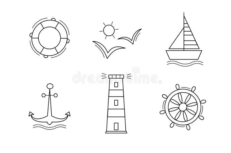 Set of sea icons vectors the contours of the black outline. Isolated on white. Anchor Ship Wheel Seagull lighthouse and a lifeline. Set of nautical icons vectors stock illustration