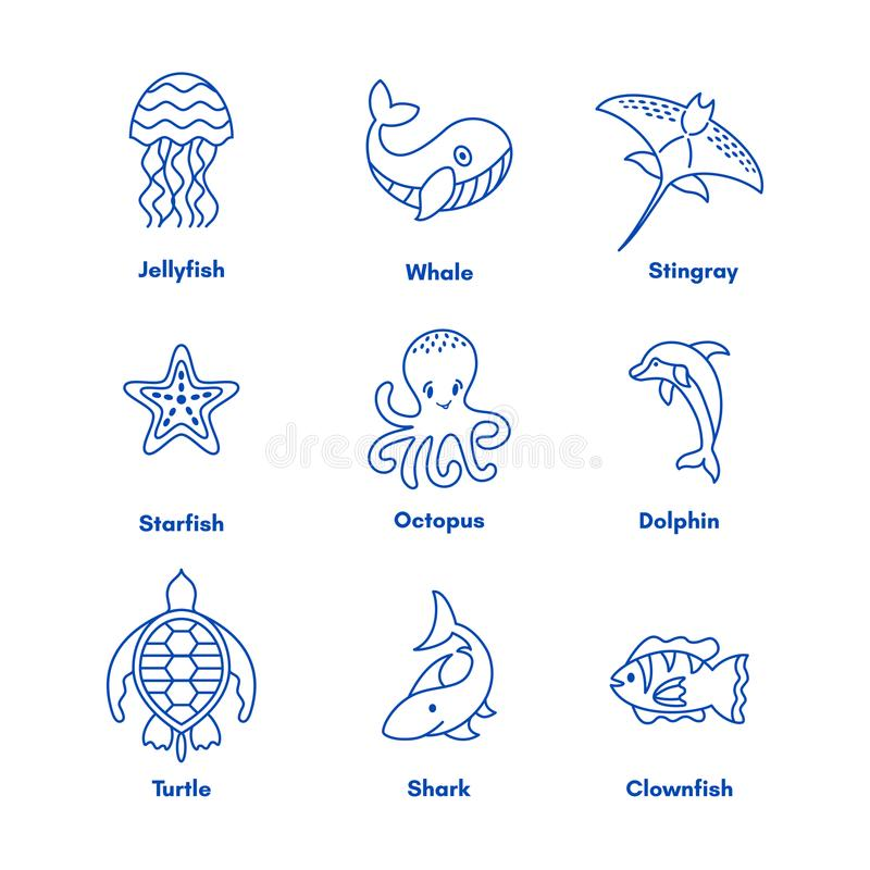Set of sea or ocean animals icons royalty free illustration