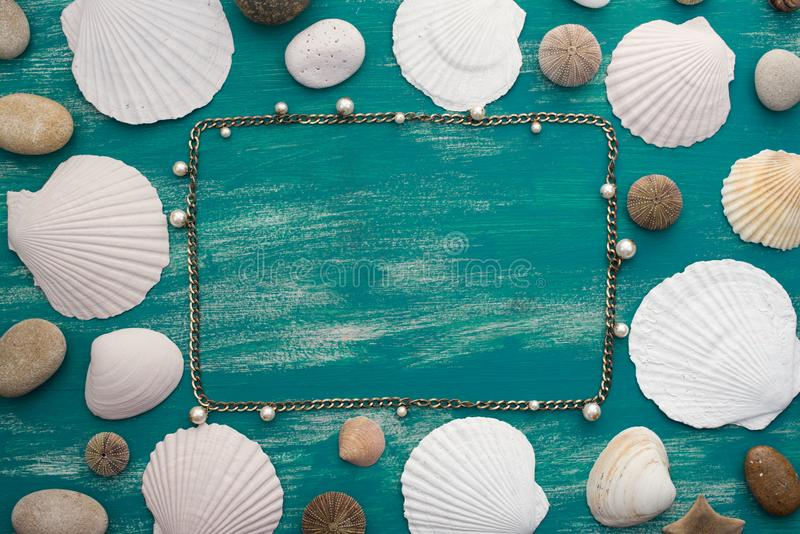 Set sea shell decorative frame place for text. Women`s jewelry fashion jewelry royalty free stock photography