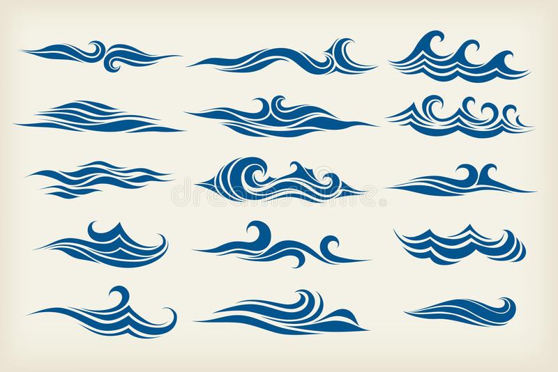 Set from sea waves stock illustration