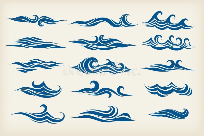 Set from sea waves. Stylized design stock illustration