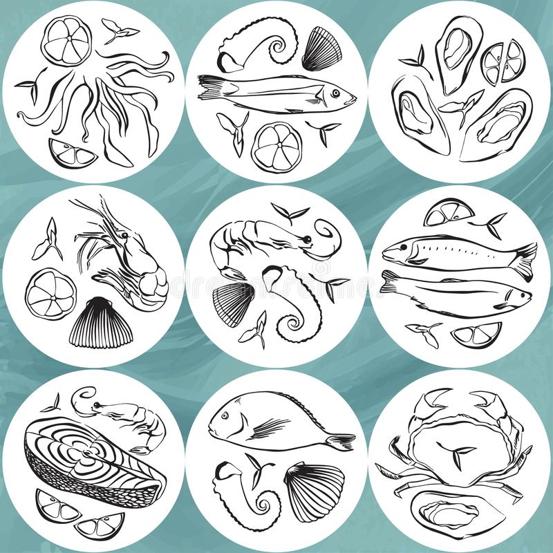 Set of seafood circle. Marine life animals plates. Hand drawn vector illustration. Beer coaster, beermat. Set of seafood circle design element. Marine life stock illustration