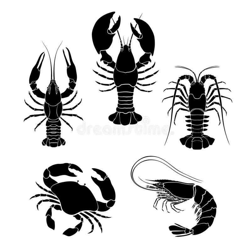Set of the seafood crustaceans silhouettes royalty free illustration