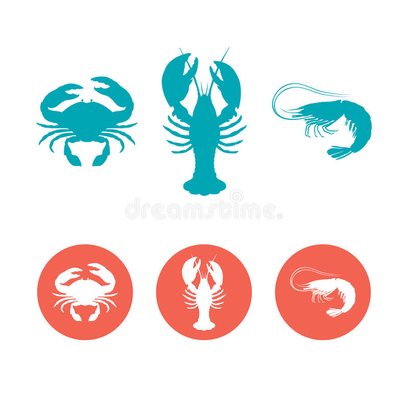 Set of the seafood flat icons vector illustration