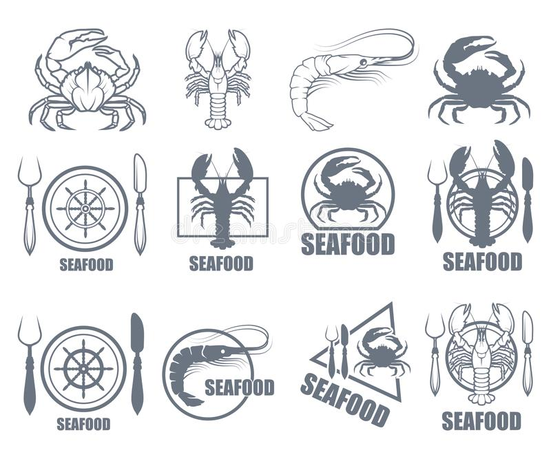Set of Seafood Logo. stock illustration