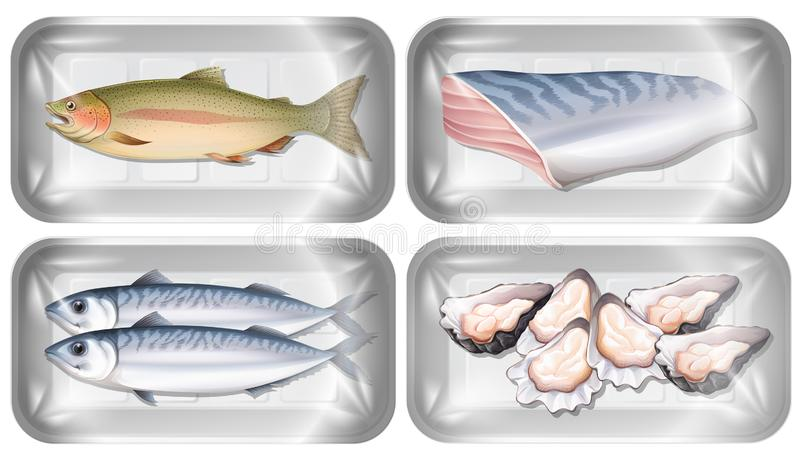 Set of seafood in packaging stock illustration